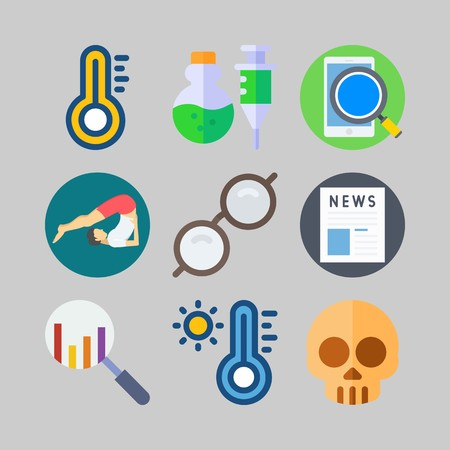 icon set about Medical. with sunglasses, yoga and thermometer