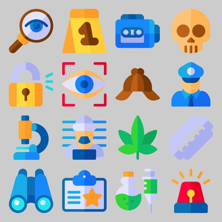 icon set about Crime Investigation. with id card, razor and skull