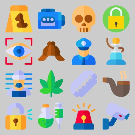 icon set about Crime Investigation. with criminal, skull and razor