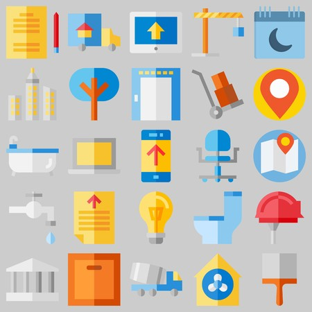 icon set about Real Assets. with monumental, tools and utensils and wheelbarrow