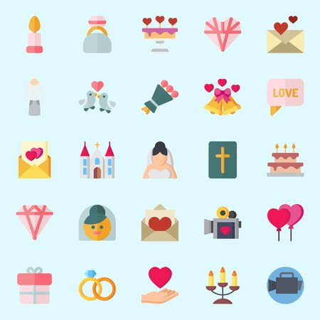 Icons set about Wedding with love birds, bible, wedding cake, love, video camera and wedding bells
