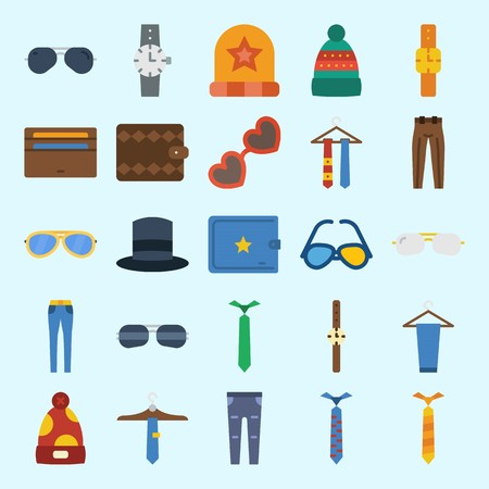 icons set about Man Accessories. with top hat, sunglasses, tie, watch, wallet and winter hat
