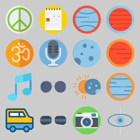 icon set about Hippies. with note, microphone and photo camera