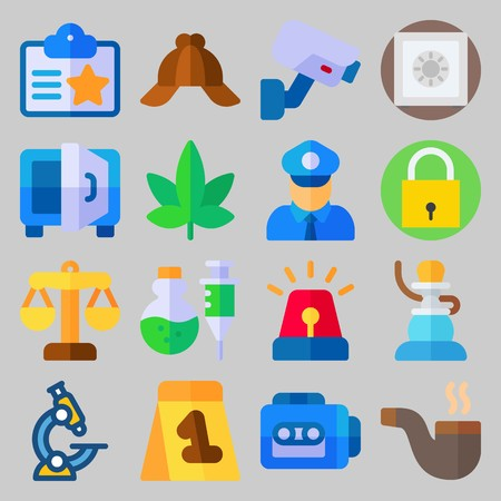 Icon set about Crime Investigation. with marijuana, cap and tape recorder