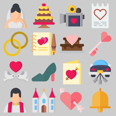 Icons set about Wedding with guests book, high heels and bride Illustration