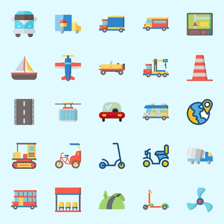 Icons set about Transportation with gps, cone, truck, bus stop, road and crane