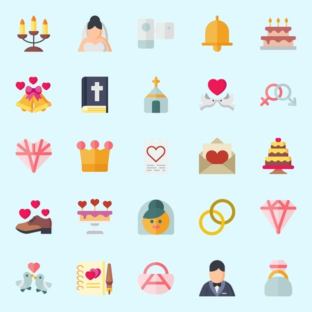 icons set about Wedding. with candelabra, love letter, guests book, bible, wedding cake and groom