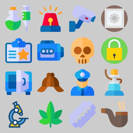 icon set about Crime Investigation. with id card, pipe and poison