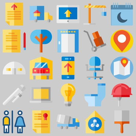 Icon set about Real Assets with storehouse, tree and more