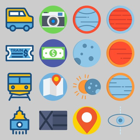 Icon set about Travel  with placeholder, sun and location