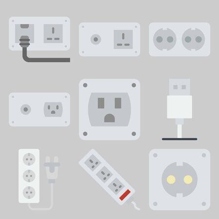 Icon set about Connectors Cables Stock Illustratie