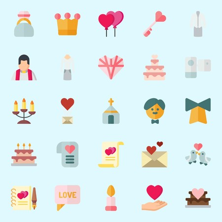 Icon set about Wedding with chat, suit, crown, bell, priest and marriage