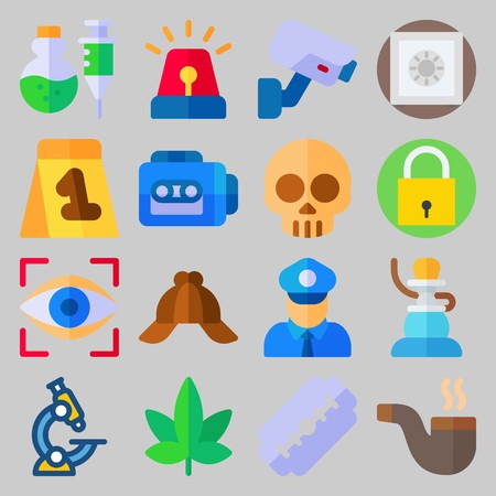 Icon set about Crime Investigation  with eye scan, shisha and skull