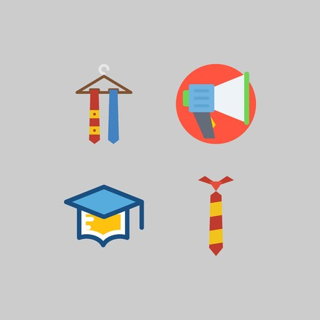 Icon set about School And Education with megaphone, mortarboard and tie Illustration