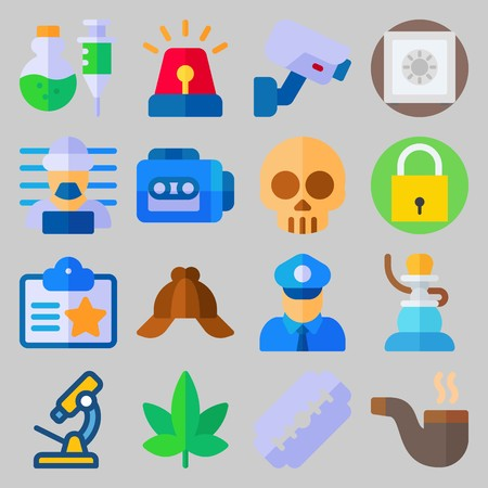 Icon set about Crime Investigation with razor, siren and poison Illustration
