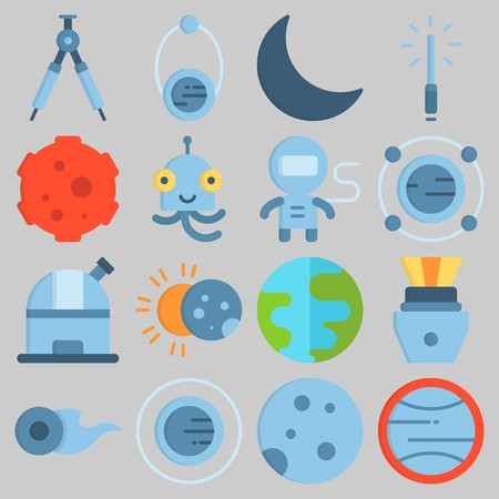 Icon set about Universe with keywords meteorite, compass, earth, capsule, lightsaber and astronaut