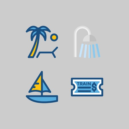 Icon set about Travel with beach, sunbed and shower