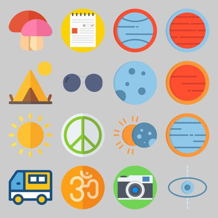 Icon set about Hippies with mushroom, tent and moon