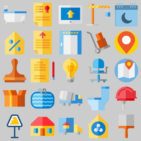 icon set about Real Assets. with work tools, studying and home Ilustrace