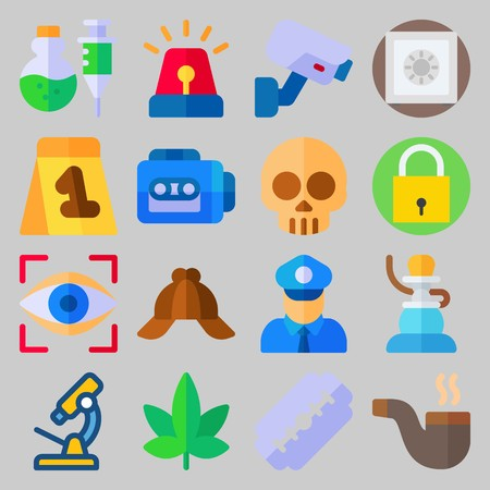 icon set about Crime Investigation. with padlock, marijuana and tape recorder