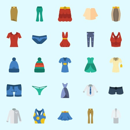 Icons set about Women Clothes with skirt, winter hat, pants, dress, shorts and panties 일러스트