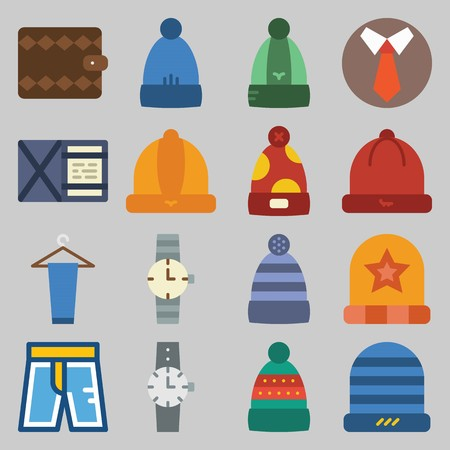 icon set about Man - Clothes. with wallet, hat and watch
