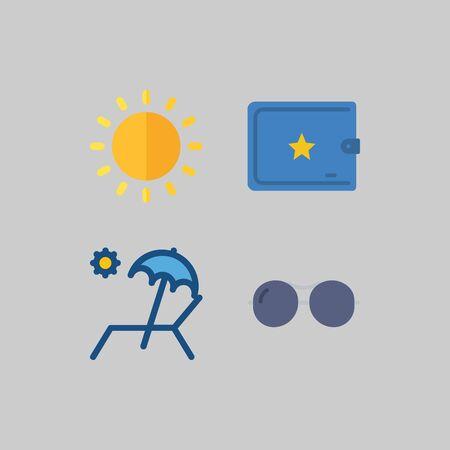 아이콘은 여행에 대해 설정합니다. 태양, 지갑 및 해변 의자