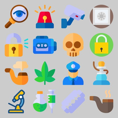 Icon set about Crime Investigation with siren, skull and pipe