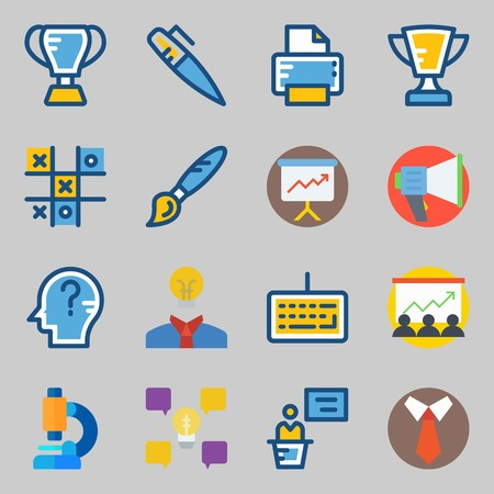 Icons set about School And Education with think, paint brush and trophy Stok Fotoğraf - 95931625