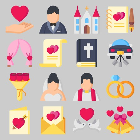 Icon set about Wedding with bells, wedding bells and marriage Ilustração