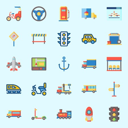 Icons set about Transportation with scooter, rocket, van, airplane, steering wheel and traffic light