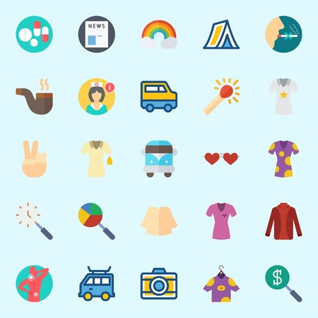 Icon set about Hippies with sunglasses, shirt, van, search, victory and match