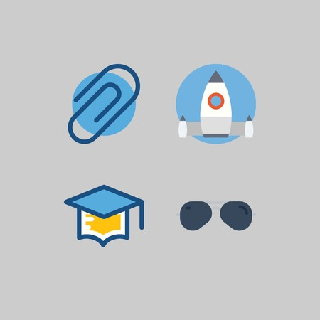 icon set about School And Education. with startup, sunglasses and mortarboard