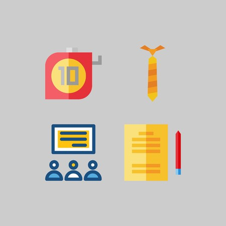 icon set about School And Education. with measuring, tie and studying