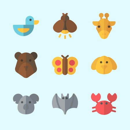 Icons about Animals with duck, bat, koala, firefly, dog and bear