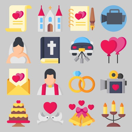 icon set about wedding with guests book love letter and bible stock vector