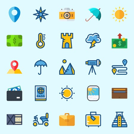 Icons set about Travel with parthole, tower, suitcase, pyramids, motorbike and photo camera