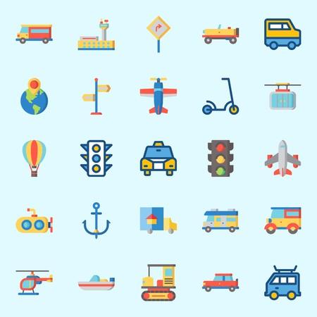 Conjunto de iconos sobre transporte con avión, camión, aeropuerto, camino canta, autobús y coche