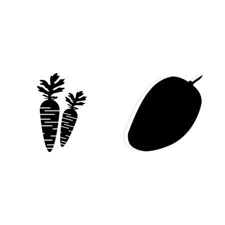 icon Fruits And Vegetables with sweet fruit, carrot, wall fruit, carrots and  Vector illustration.