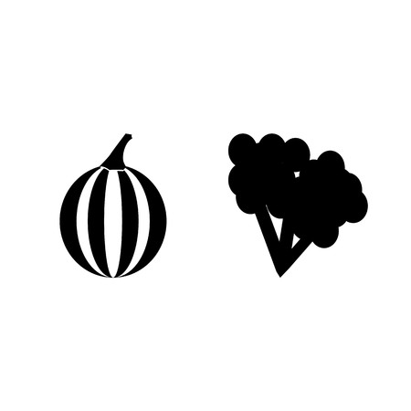 Fruits and vegetables silhouette icons set isolated on white background, Vector illustration.  イラスト・ベクター素材
