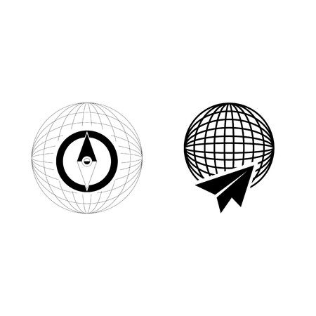 icon Travel with flat, navigation, airplane, control and sky