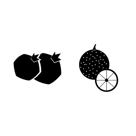 Fruits and vegetables silhouette icons set isolated on white background, Vector illustration. Иллюстрация