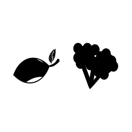 Fruits and vegetables silhouette icons set isolated on white background, Vector illustration. Stock Illustratie