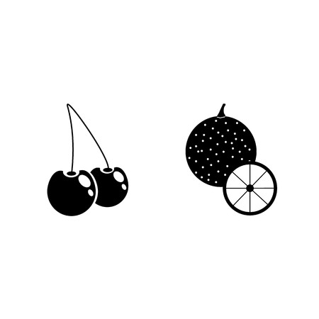 icon Fruits And Vegetables with fruit, sweet cherry, orange marmalade, orange and orange peel Illustration