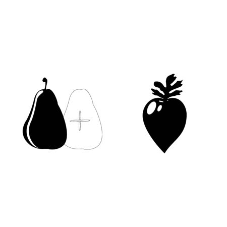 Icon Fruits And Vegetables with radish and pear.
