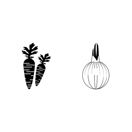 icon Fruits And Vegetables with onions, eatable, vegetable, foodstuff and carrots