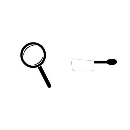 Icon Instruments And Tools with magnifying glass and cooking spoon.