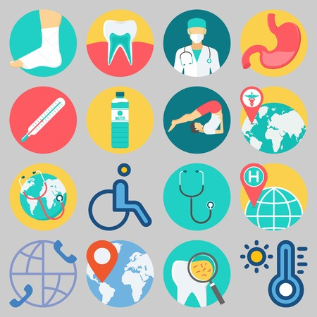 Icon set about Medical with keywords tooth, teeth, wheelchair, water, worldwide and surgeon Illustration
