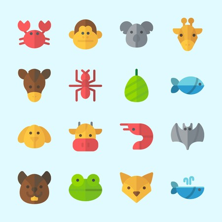 Icons about Animals with monkey, prawn, squirrel, ant, fish and cocoon Çizim