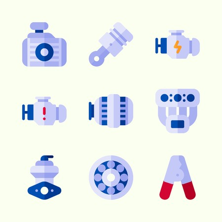 Icons about Car Engine with radiator, manifold, engine, pilers, wheel and motor